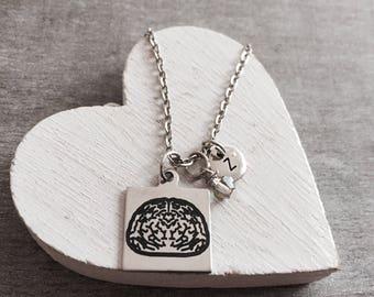 Human Brain, Psychologist, Medical, Student, Grad, Graduation, Doctor, Neurologist, Anatomical, Nurse, Silver Necklace, Charm Necklace, Gift