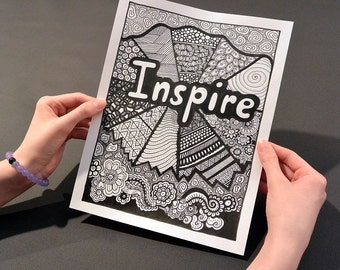INSPIRE Coloring Page, Coloring Book Page, Printable Adult Coloring, Handdrawn, Inspirational Doodle, Art Therapy, Instant Download Print