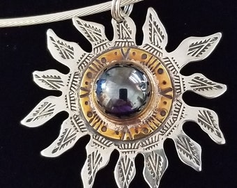 CP163 Sterling Silver Necklace with Sterling Silver Sunburst Pendant
