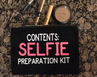 Content: Selfie Preporation kit black  canvas makeup bags