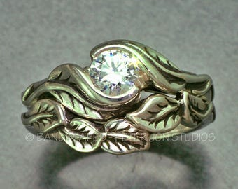 1/2ct. Moissanite in Sterling Silver, Delicate Leaf Wedding Ring Set, Bridal Engagement Rings, Leaf Engagement Ring, Leaf and Vine Ring