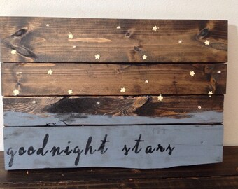 "Goodnight Moon ""Goodnight Stars"" rustic light up Nursery wall sign - Baby Shower Gift - Nursery Decor"