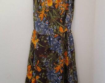 Floral Silk 70's Dress
