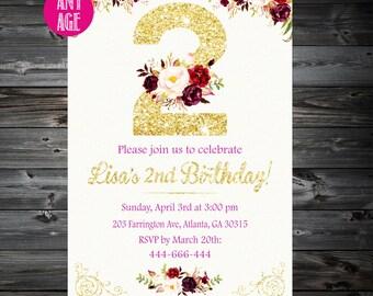 2nd Birthday Invitation,Second Birthday Invitation,2nd Birthday Invitation Girl, Girls Invitations,1st 2nd 3rd 4th 5th 6th 7th kids birthday