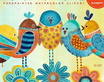 whimsical blue birds watercolor clipart, bird clip art brown yellow blue, folk art style graphic set PNG files by SLS Lines for DIY designs
