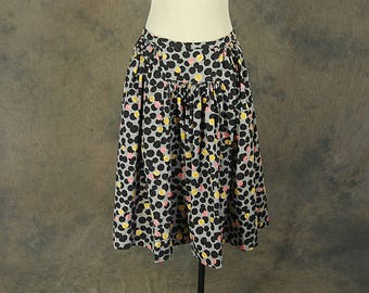 vintage 50s Skirt - 1950s Novelty Print Pink and Yellow Bubbles Full Skirt Sz M L