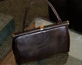 Vintage brown mock croc faux reptile lizard handbag purse