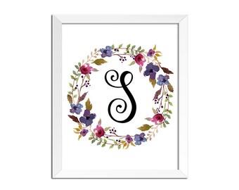 Monogram Art, Nursery Letter Print, Girl flowers room decor, Watercolor flowers printable wall art, monogram nursery print, monogram print