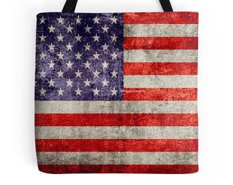 Antique American Flag Tote Bag, Bookbag