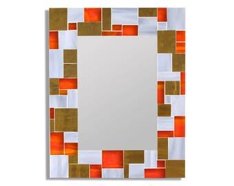 Orange and Gold Mirror for Orange Decor – Rectangle Mirror Large