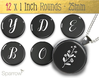 Chalkboard Alphabet - One (1x1) Inch Bottle Cap Images - Digital Sheets - Scrapbooking - Buy 2 Get 1 Free - Digital Download - Automatic