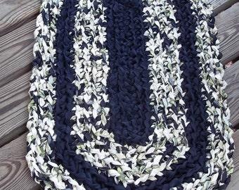 Black, Cream, White & Olive Green Crochet Rag Rug CP31