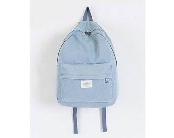 Womens Denim Backpack School Bag College Bag Daypack 217