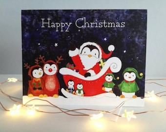 Penguin Christmas card, cute Santa, reindeer and penguin elves. Happy Christmas