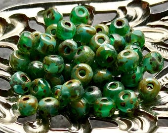 TINY SEEDS - Beautiful Turquoise, Teal Green with a Picasso finish - Premium Czech Glass Beads - 50 Beads