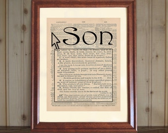 Son Dictionary Print, Dictionary Definition of Son Print, Younger Son Gift, Son Quote, Older Son Gift, Son Print on 5x7 / 8x10 Canvas Panel
