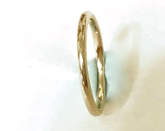 Hammered Gold Wedding Band 2mm Wide Solid 14k yellow gold ring full Halo fully round band handmade ring simple Unisex Men & Womens 2 mm Band