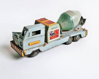 1950s Toymaster Cement Mixer Truck, Friction Toy, Tin Toy, Collectible Toy