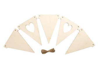 Heart Pennant Banner Unfinished Wood