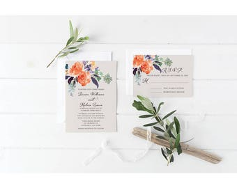 Orange and Gray Floral Wedding Invitation - Wedding Invitation Set Suite - Floral Watercolor - Digital Invitation - Printable Invitation