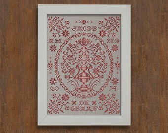 INSTANT DOWNLOAD A Georgian Bouquet PDF counted cross stitch patterns by Modern Folk at thecottageneedle.com monochromatic Valentine's Day