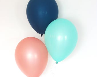 Rose Gold Balloons, Rose Gold Party Decorations, Mint Balloons, Navy Balloons, Birthday Party Decorations, Rose Gold Bachelorette, Set of 3