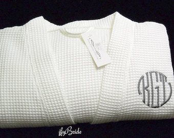 Monogrammed Robe, Waffle Weave Robe, Personalized Robe, Cotton Anniversary Gift for him, Second Anniversary, CS