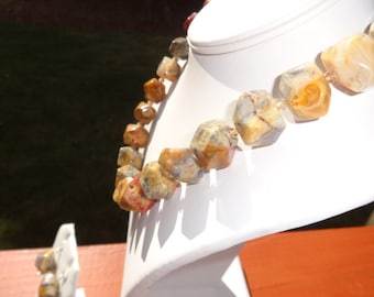 Crazy Lace Agate Gemstone Necklace and Earrings Set