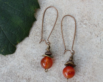 72 Carnelian and antiqued copper wire dangle earrings