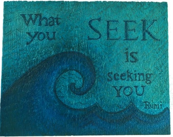 Rumi painting on wood with wave, Quote Painting, Spiritual painting, Word Art, Rumi Painting, Original Painting on Wood