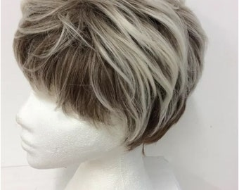 Brown and blonde synthetic full wig