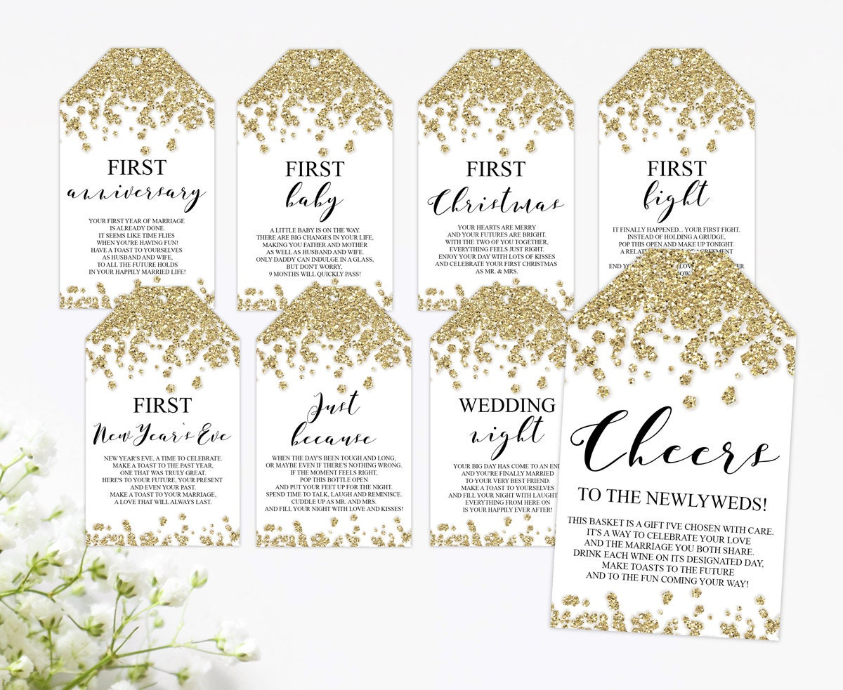 Milestone Wine Tags Gold Bridal Shower Gift Basket Tags