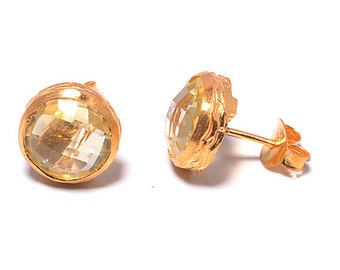 Earring 925 sterling silver earring natural golden topaz, Gold vermeil bridal jewelry