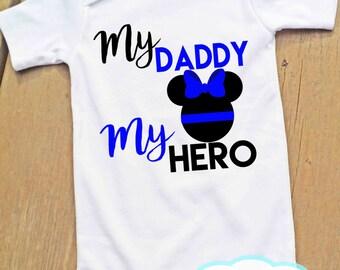 Minnie My Daddy My Hero Bodysuit or Tshirt - Thin Blue Line - Police - Girl