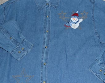 Denim Snowman Shirt---ONE Of A KIND-