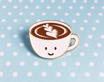 Caffe Latte Enamel Pin - cute cartoon coffee tea drink cup lapel