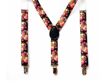 black floral suspenders,girl suspenders,baby suspenders,boy suspender,wedding suspenders,toddler suspenders,birthday suspenders,photo prop