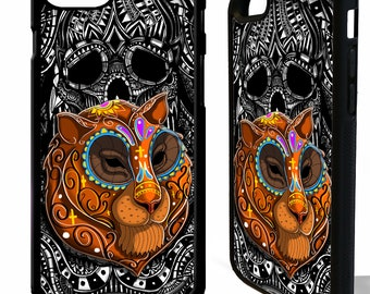 Tiger head sugar skull tigeress tattoo day of the dead graphic phone case cover for iphone 4 5 5s 6 6s 7 8 8 plus X