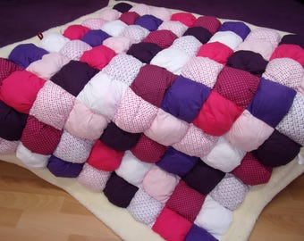 White minky and baby pink, purple patchwork playmat