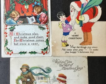 3 Vintage Christmas Postcards- Two With Santa Early 1920's