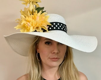 Kentucky Derby hat steeplechase church hat big large wide brim floral couture sun hat