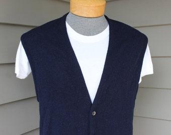 vintage 60's - 70's -Puritan 'Aquaknit'- Men's Cardigan sweater vest. Navy Blue - 100% Lambswool.  Large - Extra Large - 44