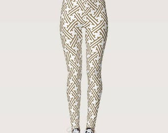 Women's Leggings Japanese Pattern Tan & White