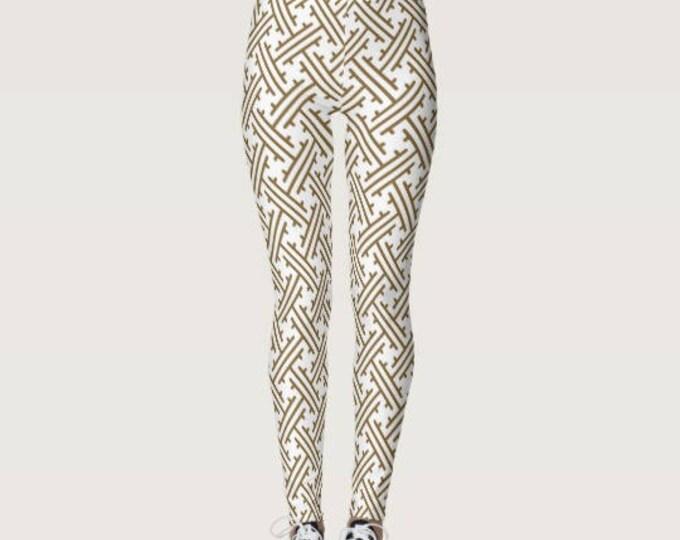 Women's Leggings Japanese Pattern Tan & White