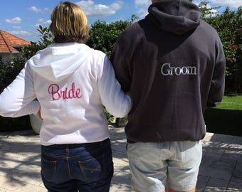 Bride & Groom Wedding hoodies - pair of Wedding hoodies.  Perfect for getting ready for the big day. Fleecy and zipper fronted.