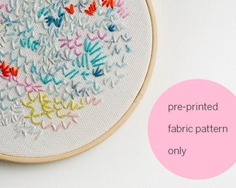 printed fabric embroidery pattern ~ 'Rose' ~ WHITE background