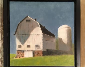 The Old Eble Barn, 12 x 12 inches, framed size approx. 13 x 13 inches, free shipping