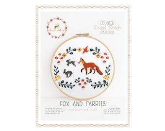 Compté point - renard et le lapin de croix / cross point, diy, How-to, broderie, motif, cadeau, alimentation, instruction, bébé, woodland