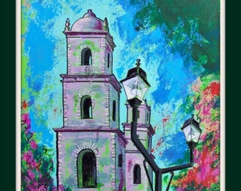 "SALE Original painting of Mexican old Church in Mexican town Merida one of a kind art wall decor on paper 25 1/2""x19 3/4"""