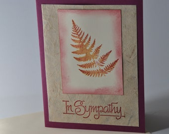 Hand stamped Sympathy card with coppery fern